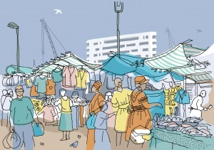 Jane Smith's Ridley Road Market illustration